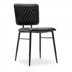 Elgin Quilted Dining Chair, Faux Leather Upholstered, Black