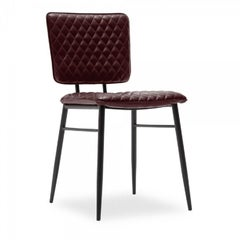 Elgin Quilted Dining Chair, Faux Leather Upholstered, Oxblood