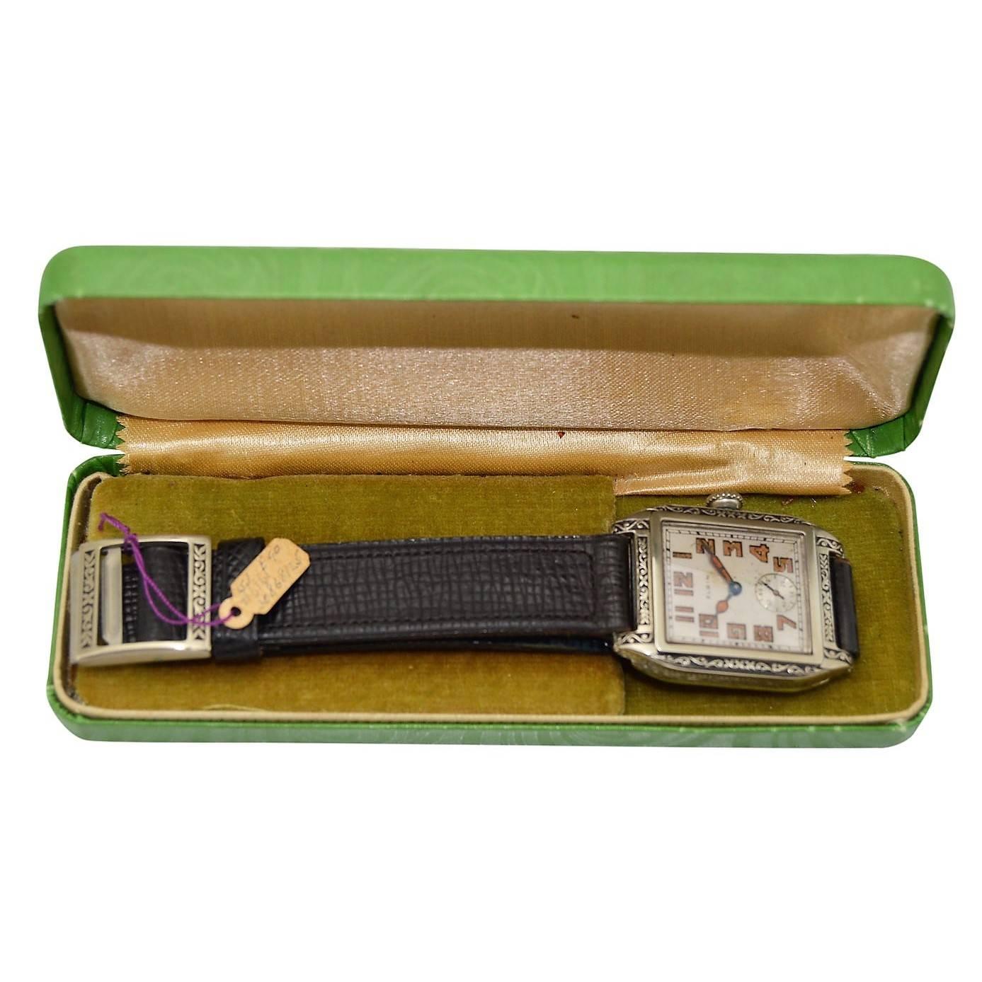 Elgin White Gold Filled Art Deco Manual Wristwatch, circa 1926