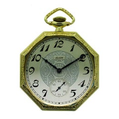 Elgin Yellow Gold Filled Art Deco Octagon Shaped Pocket Watch from 1924