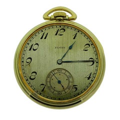 Elgin Yellow Gold Filled Art Deco Open Faced Pocket Watch New Old Stock Case