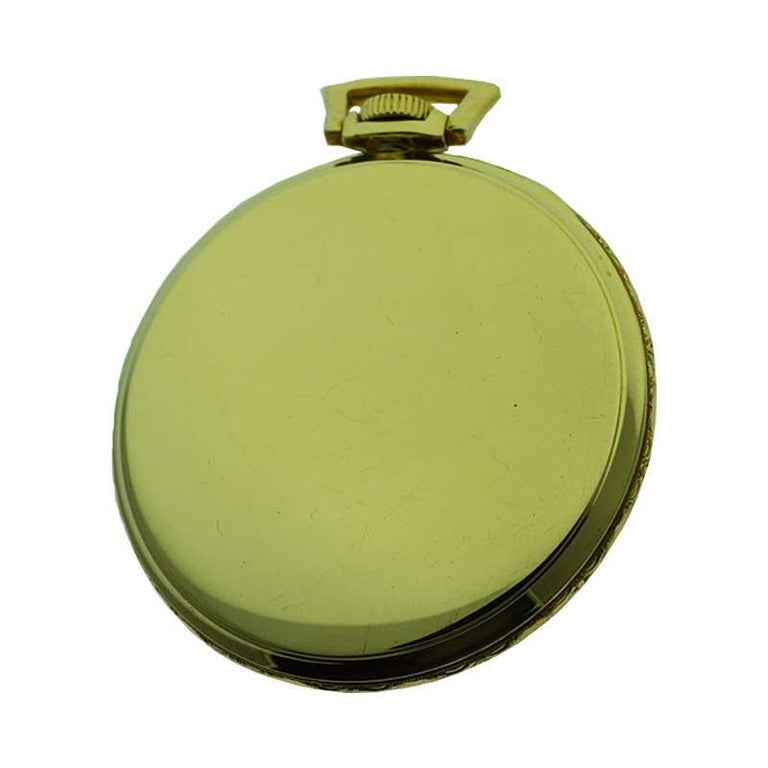 Women's or Men's Elgin Yellow Gold Filled Art Deco Pocket Watch with Original Dial, circa 1940s For Sale