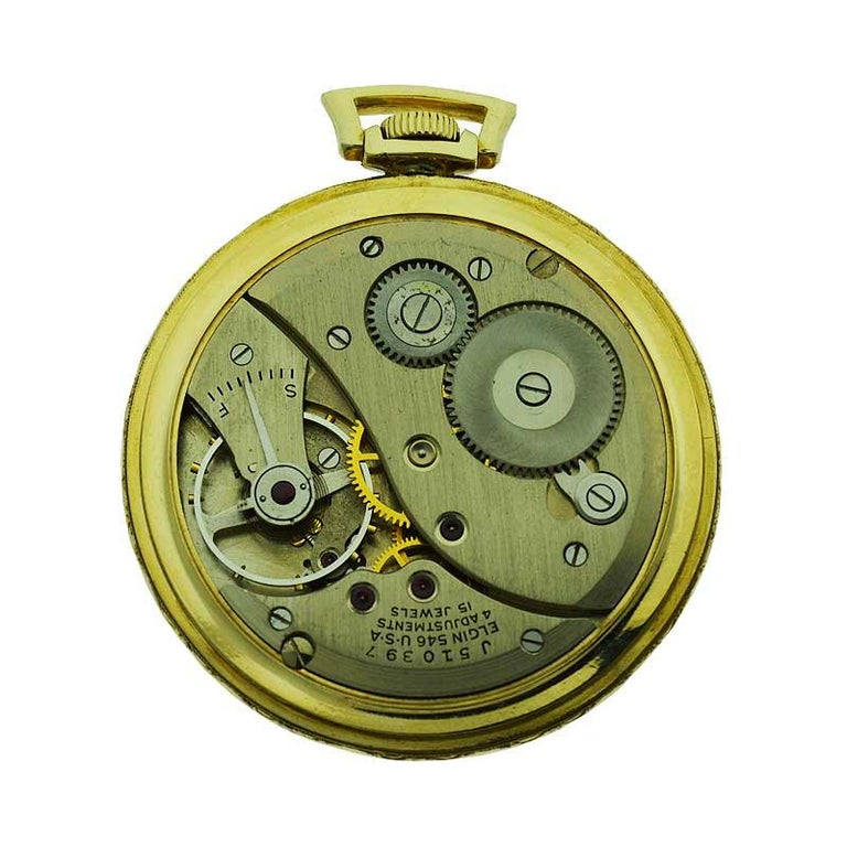 Elgin Yellow Gold Filled Art Deco Pocket Watch with Original Dial, circa 1940s For Sale 2