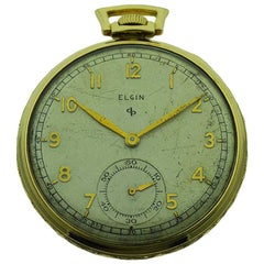 Elgin Yellow Gold Filled Art Deco Pocket Watch with Original Dial, circa 1940s