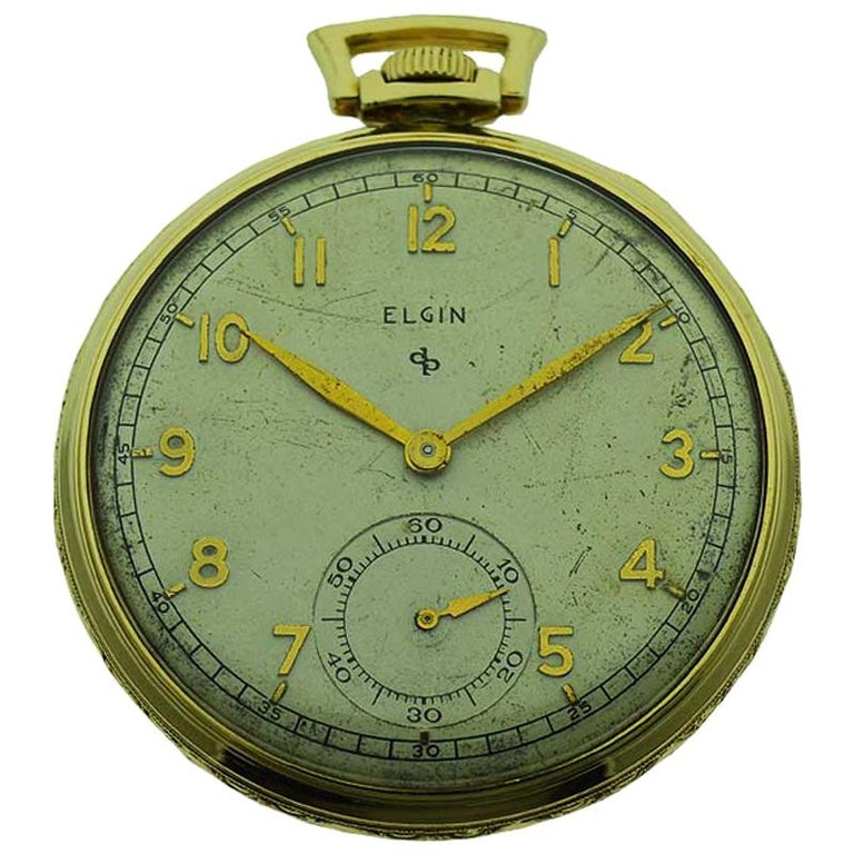 Elgin Yellow Gold Filled Art Deco Pocket Watch with Original Dial, circa 1940s For Sale