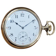 Elgin Yellow Gold Filled Open Face American Pocket Watch circa 1912 Enamel Dial