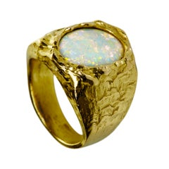 18 Karat Gold Abyss Signature Opal Ring with White Water Opal