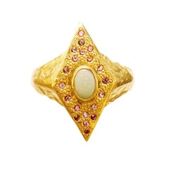 18 Karat Gold Neptune Sky Ring with White Water Opal and Pink Spinels