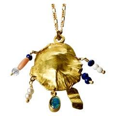 Elhanati 18 Karat Gold Ocean Shield Necklace with Gems