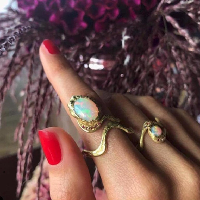 Artist 18 Karat Gold Opal Eye Ring with White Water Opal and Pink Spinels For Sale
