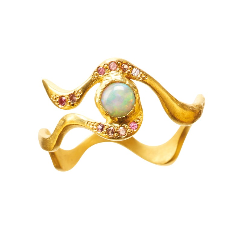 18 Karat Gold Opal Eye Ring with White Water Opal and Pink Spinels For Sale