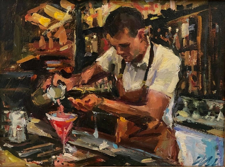 In this original oil painting, the artist has expertly crafted a lively bar scene where a pink drink is being mixed and poured. Energetic brushstrokes and a bright color palette make this a winning piece. Framed in gold, it is a great companion