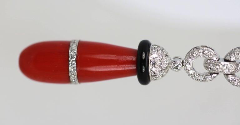 Eli Frei 18 Karat Gold Coral Onyx Diamond Drop Earrings For Sale 4