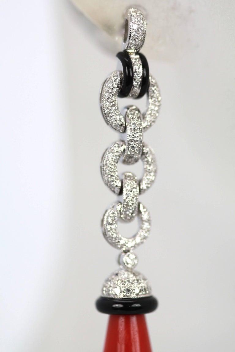 Eli Frei 18 Karat Gold Coral Onyx Diamond Drop Earrings For Sale 3