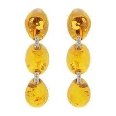 Eli Frei Amber, 18 Karat Gold and Diamond Drop Earrings