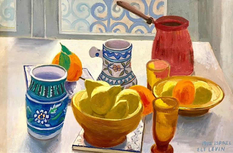 Eli Levin (born 1938) Israeli Still Life, 1972 Oil on canvas mounted on masonite Dated and signed lower right: 1972 ISRAEL / ELI LEVIN Frame: 18.38 x 26.25  Canvas 15 5/8 x 23 in.    Eli Levin was born in 1938 to Meyer Levin the well-known author,