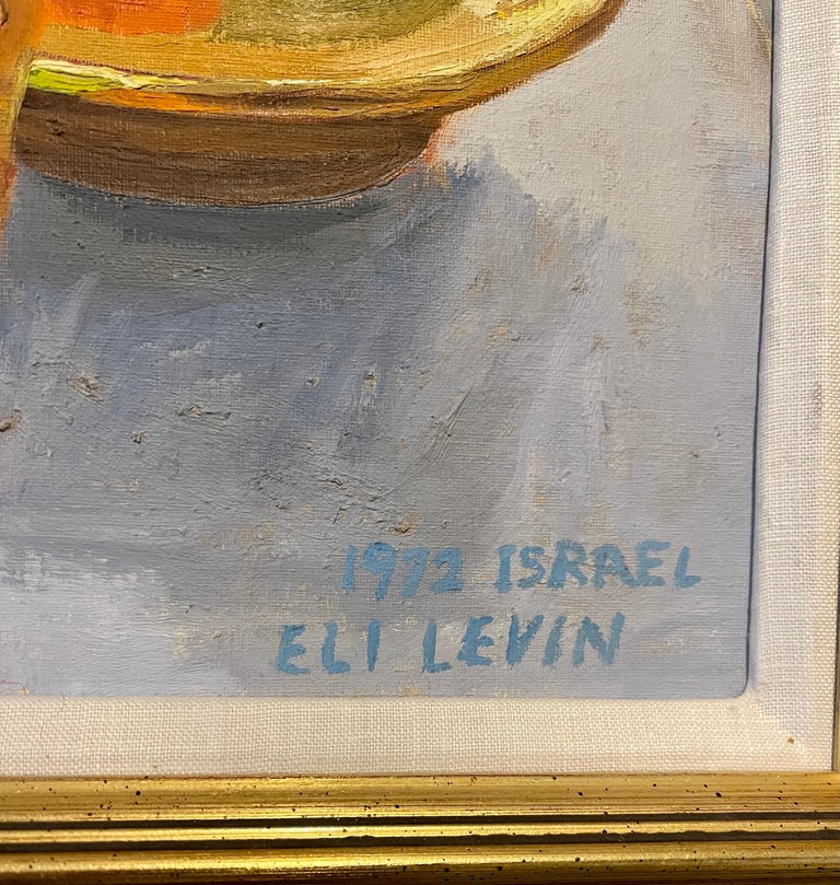 Oil Painting Still Life Tablescape with Coffee & Oranges 1972 Israel Eli Levin For Sale 1