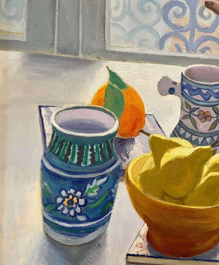 Oil Painting Still Life Tablescape with Coffee & Oranges 1972 Israel Eli Levin For Sale 2