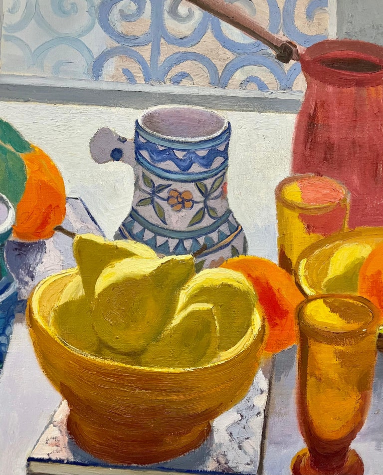 Oil Painting Still Life Tablescape with Coffee & Oranges 1972 Israel Eli Levin For Sale 3