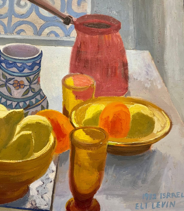 Oil Painting Still Life Tablescape with Coffee & Oranges 1972 Israel Eli Levin For Sale 4