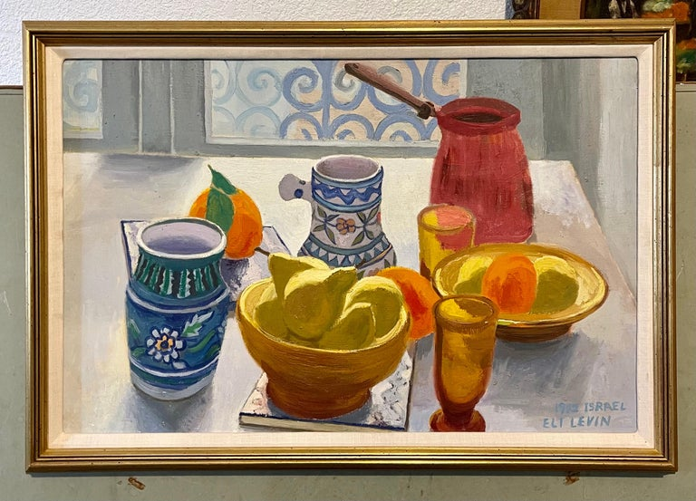 Oil Painting Still Life Tablescape with Coffee & Oranges 1972 Israel Eli Levin For Sale 7
