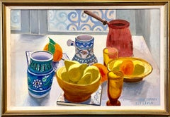 Oil Painting Still Life Tablescape with Coffee & Oranges 1972 Israel Eli Levin