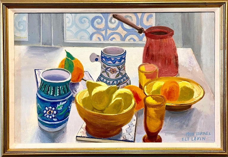 Oil Painting Still Life Tablescape with Coffee & Oranges 1972 Israel Eli Levin - Brown Figurative Painting by Eli Levin