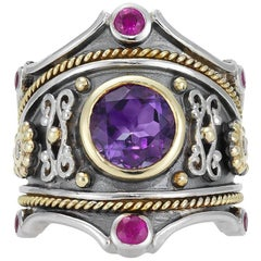 Eli Sterling Sliver Gold Amethyst and Ruby Ring