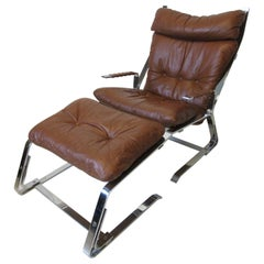 Elia & Nordahl Solheim Leather and Chrome Lounge Chair w/ Ottoman Norway