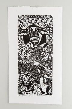 African Big 5, Elia Shiwoohamba, Linoleum block print