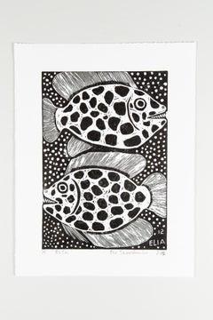 Eeshi, Elia Shiwoohamba, Linoleum block print