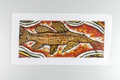 Giraffe Catfish, Elia Shiwoohamba, Cardboard print on paper