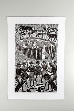 John Muafangejo Style, Elia Shiwoohamba, Linoleum block print on paper