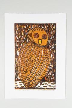 Pel's Fishing Owl, Elia Shiwoohamba, Cardboard print on paper