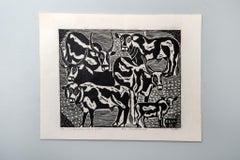 Shiwoohamba's Cattle, Elia Shiwoohamba, Linoleum block print on paper