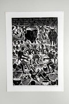 We remember the day, Elia Shiwoohamba, Linoleum block print on paper