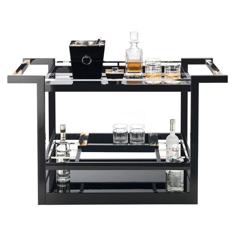 Elia Trolley in Glossy Black Lacquered Wood with Handles in Dark Horn, Mod 4741 For Sale