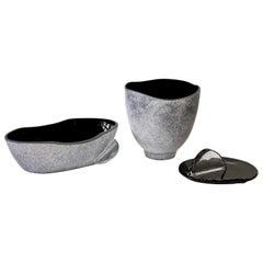 Huge 20 Inch Seguso Vetri d'arte Black Scavo Murano Glass Bowl Centrepiece Set