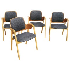 Elias Barup Set of 4 Teak and Beech Dining Chairs with Original Upholstery 1950s
