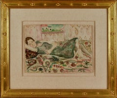 "Elias Newman, ""Sleeping Woman"" Israel artist, woman,  Watercolor 11 x 15 1/4"
