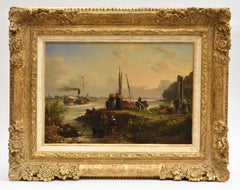 River with steamboat and travelers - Romantic dutch elegant umbrella travellers