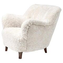 Elias Svedberg Swedish Sheepskin Lounge Chair, circa 1940s