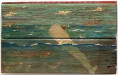 """American Whalers""  Folk Art Marine Painting Found Wood by Self-taught Artist,"