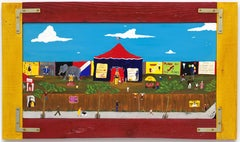 """""""Sunday at the Circus""""  Folk/Naive Brightly Colored Landscape, Animals"""