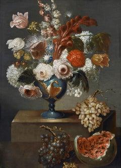 17th Century Elias Terwesten Still Life Flower Vase Oil on Canvas Purple Blue