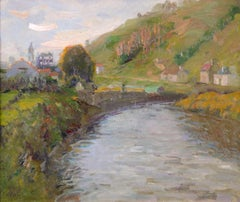 A River Landscape - 20th Century Post-Impressionist Oil by Elie Anatole Pavil