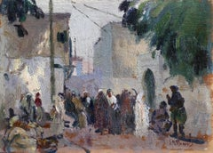 Arabs in a Market - Impressionist Oil, Figures in Landscape - Elie Anatole Pavil