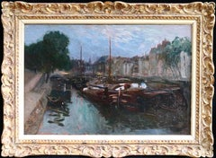 Canal Saint Martin - Paris - 19th Century Oil, Boats on Canal Landscape by Pavil