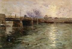 """""""Coucher de Soleil sur la Seine"""" French Russian 19th Century Grey Riverscape"""