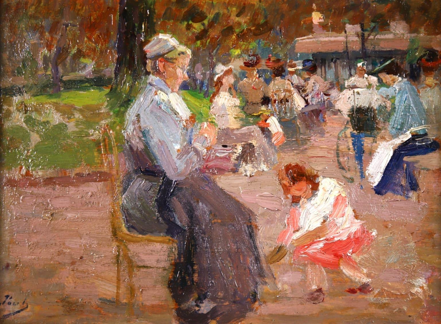 Elegant dans un parc - Post-Impressionist Oil, Figures by Elie Anatole Pavil